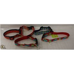 BAG OF 5 ASSORTED FABRIC COLLARS.