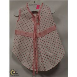 WHITE & PINK POLKA DOT PET DRESS SIZE MEDIUM.