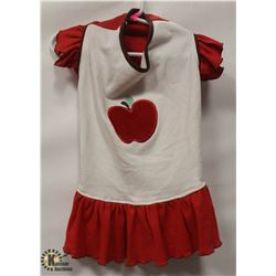 WHITE & RED PET DRESS WITH APPLE SIZE LARGE.