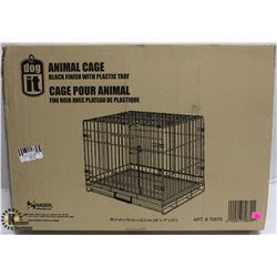 DOGIT ANIMAL CAGE, BLACK FINISHED WITH PLASTIC