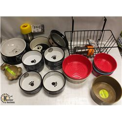 BOX OF ASSORTED PET FOOD & WATER DISHES.