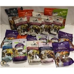 BOX OF ASSORTED DOG TREATS.
