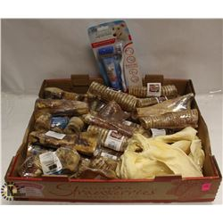 FLAT OF ASSORTED DOG CHEWS INCL RAW HIDE, PIGS