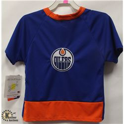 NHL OILERS PET JERSEY MESH SHIRT SIZE LARGE.
