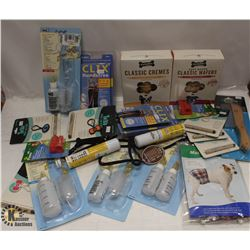 BOX OF ASSORTED DOG ITEMS INCL COMBS, DOG TREATS,