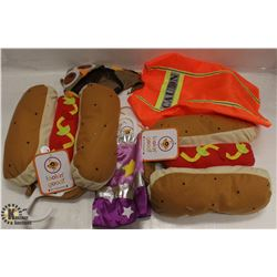 BOX OF ASSORTED DOG HALLOWEEN COSTUMES,