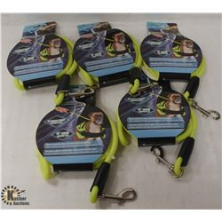 "BAG OF 5 REFLECTIVE 47"" DOG LEASHES"
