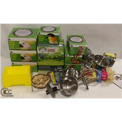 LOT OF ASSORTED BIRD ITEMS INCL TOYS, FOOD