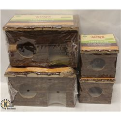 BOX OF 4 LIVING WORLD TREE HOUSES - ALL NATURAL