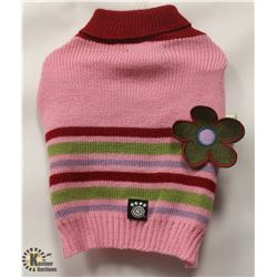 PINK STRIPED PET SWEATER SIZE SMALL.