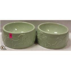 LOT OF 2 LARGE PET FOOD/ WATER DISHES.
