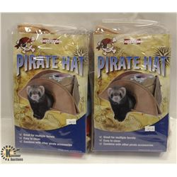 LOT OF 2 PIRATE HAT FERRET TOYS.