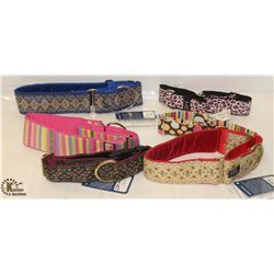 BAG OF 6 ASSORTED FABRIC DOG COLLARS