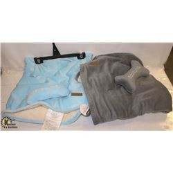 LOT OF 2 FOUFOU DOG SHERPA BLANKET SET
