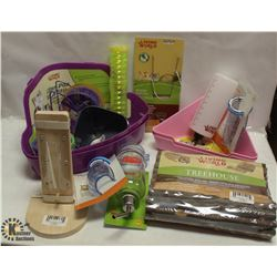 BOX OF SMALL ANIMAL ACCESSORIES & TOYS