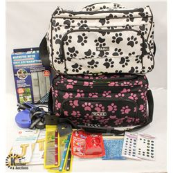 2 WAHL PET THEMED ZIPPER BAGS WITH ACCESSORIES