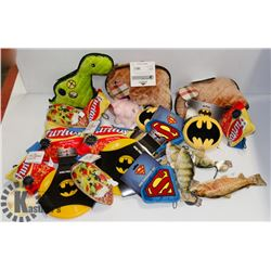 BOX OF DOG TOYS INCLUDING FRISBEE, AND CHEW TOYS