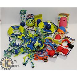 BOX OF DOG TOYS INCLUDING NERF FEEDERS,