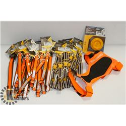 BOX OF BROWNING DOG COLLARS, LEASHES,