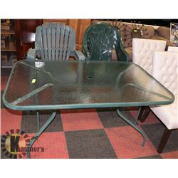 GLASS PATIO TABLE WITH 5 CHAIRS