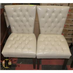 PAIR OF NEW OFF WHITE LEATHERETTE SIDE CHAIRS,