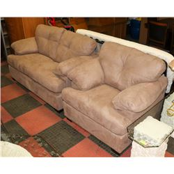 "NEW BROWN MICROFIBRE 65"" LOVE SEAT WITH 44"" CHAIR."