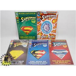 5 ASSORTED REIGN OG THE SUPERMAN 1993 COMICS