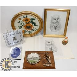 PETTY POINT FLOWER PICTURE AND KITTEN PRINTS