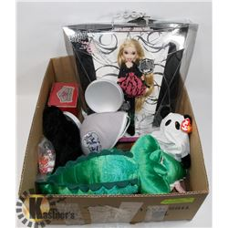 LOT OF TOYS INCL BRATZ, FIGURINES AND STUFFIES.