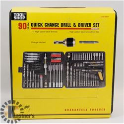 NEW 90 PIECE QUICK CHANGE DRILL & DRIVER SET/WITH