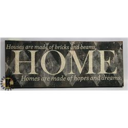"NOVELTY CANVAS WALL DÉCOR -28""L X 8""W. HOME"