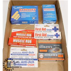 NEW FIRST AID BUNDLE OF CREAMS & BAND-AID'S