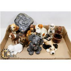 LARGE BOX OF ESTATE DOG FIGURES