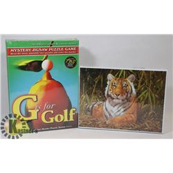 GOLF MYSTERY & 1000PC TIGER PUZZLE FACTORY SEALED.