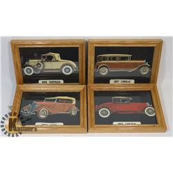 SET OF 4 ANTIQUE CAR PICTURES.