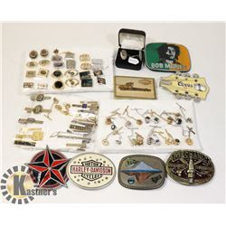 VINTAGE LOT CUFFLINKS, TIE TACKS & PINS