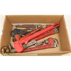 "TWO HEAVY DUTY 18"" PIPE WRENCHES, TWO 14"" PIPE"