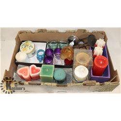 LOT OF ASSORTED NEW CANDLES AND HOLDERS