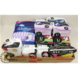 FLAT OF ASSORTED KOTEX AND ALWAYS PADS