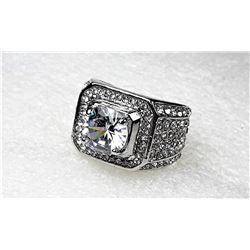 8)  STAINLESS STEEL & CZ STATEMENT RING