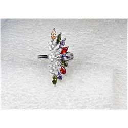 12)  MULTI COLORED AUSTRIAN CRYSTAL RING