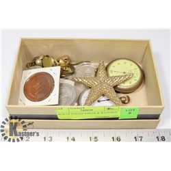 BOX OF COLLECTIBLES & WATCHES.