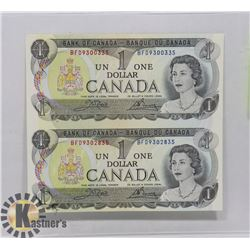 1973 UNCIRCULATED UNCUT CANADIAN DOLLAR BILLS.