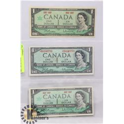 LOT OF 3 CANADIAN DOLLAR BILLS INCL 1954 ASTERISK