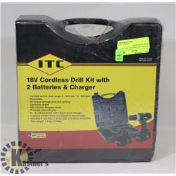 NEW ITC 18V CORDLESS DRILL KIT WITH  2 BATTERIES