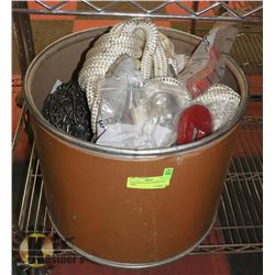 TUB OF ROPE AND 3/8 HOOKS AND MORE