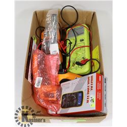 BOX OF 3 DIGITAL MULTIMETERS, 2 TEMP GUNS