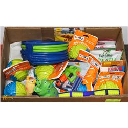 BOX OF INTERACTIVE DOG TOYS INCL BELLY LAUGHS