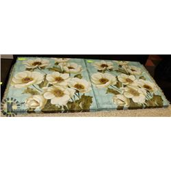 PAIR OF SHOWHOME FLORAL CANVAS PICTURES