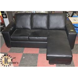 "BLACK LEATHERETTE REVERSIBLE 82"" SECTIONAL."